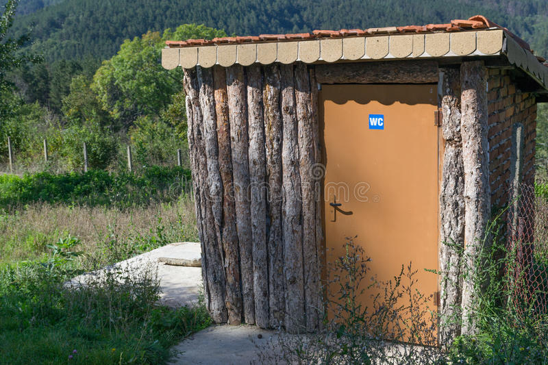 Download Wooden Public Toilet Outdoor On Rest Place In Mountains Nature.  Stock Photo   Image