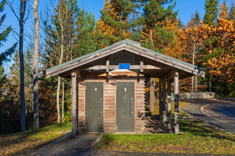 Wooden Public Toilet stock images