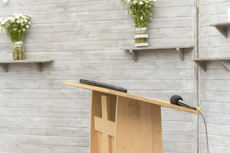 Wooden pulpit for the preacher.  stock photography