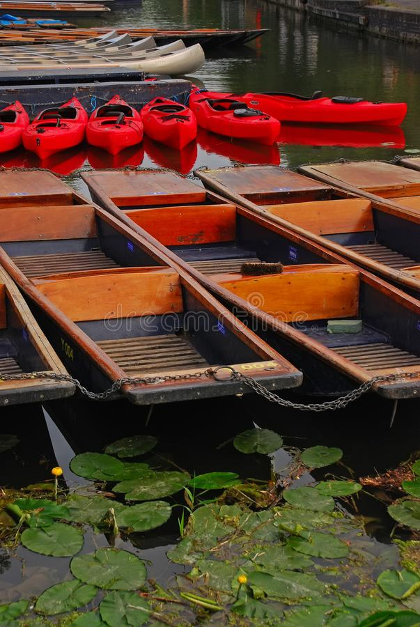 Wooden punt and plastic canoe docked at Cam river, Cambridge. Common sight in Cambridge University campus with all of them being tied together using a metal stock photography