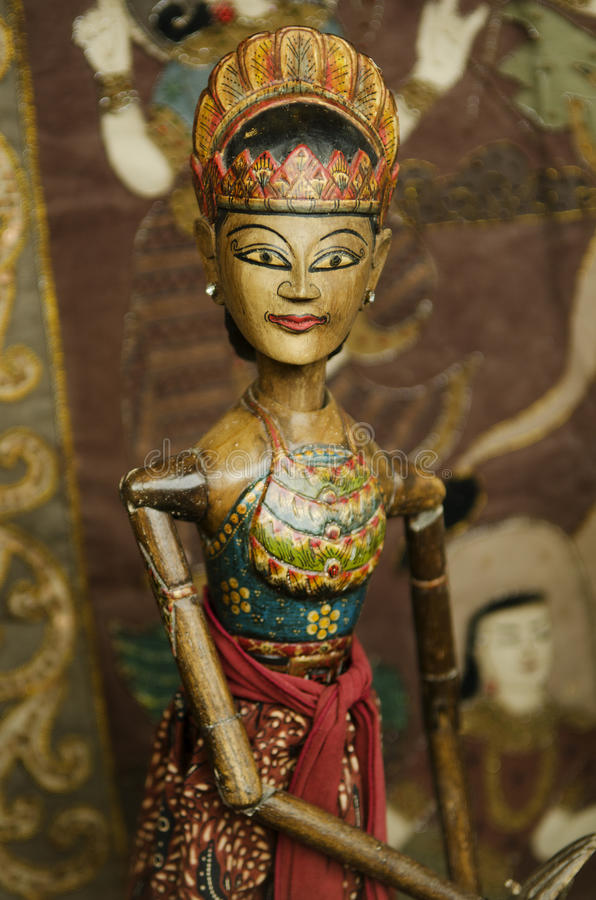 Wooden puppet in bali indonesia. Traditional wooden puppet in bali indonesia royalty free stock photo