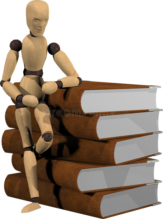 Wooden puppet and books royalty free stock images