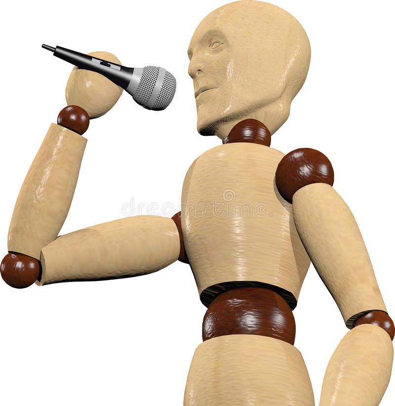 Wooden puppet singing royalty free stock photos