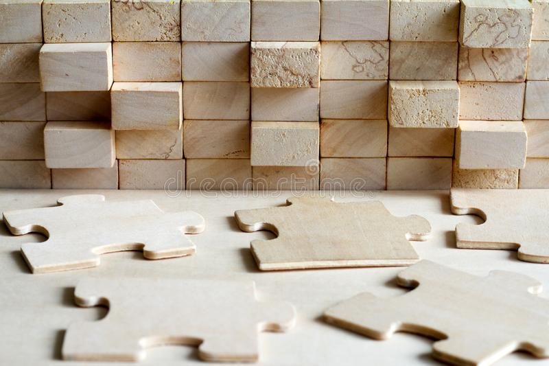 Wooden puzzle and block abstract team corporation background concept stock images