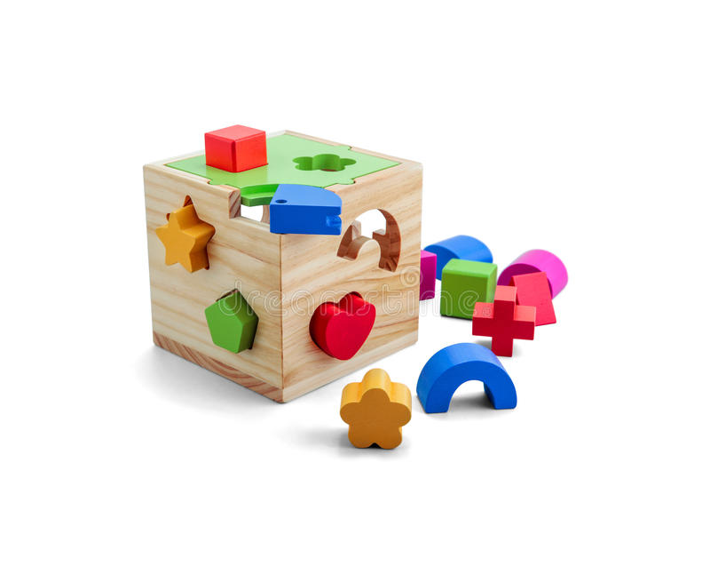 Wooden puzzle toy with colorful blocs isolated over white royalty free stock images