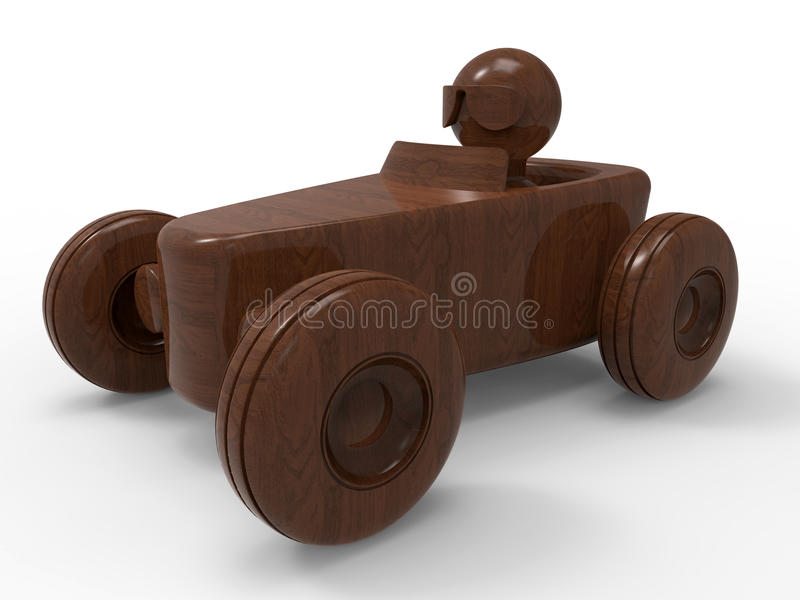 Wooden race car toy stock illustration