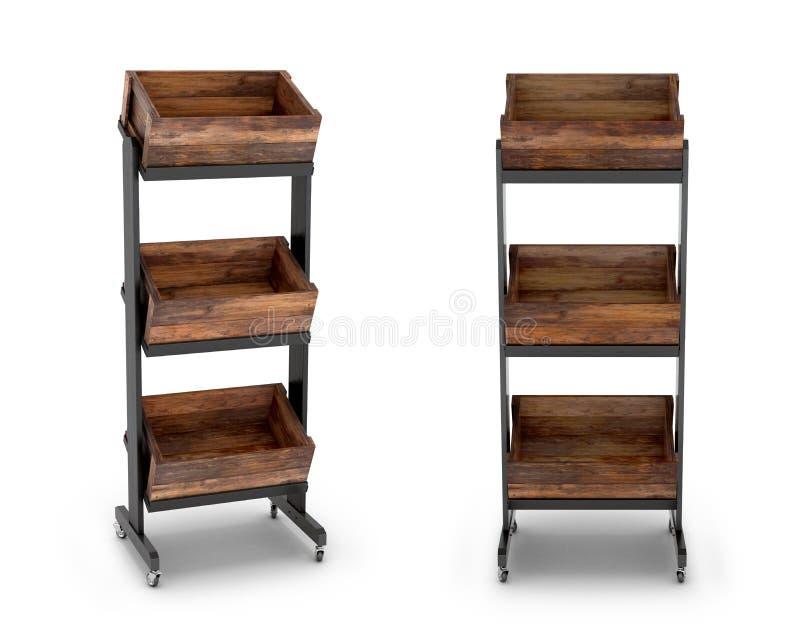 Wooden rack shelf on wheels. 3D illustration stock illustration