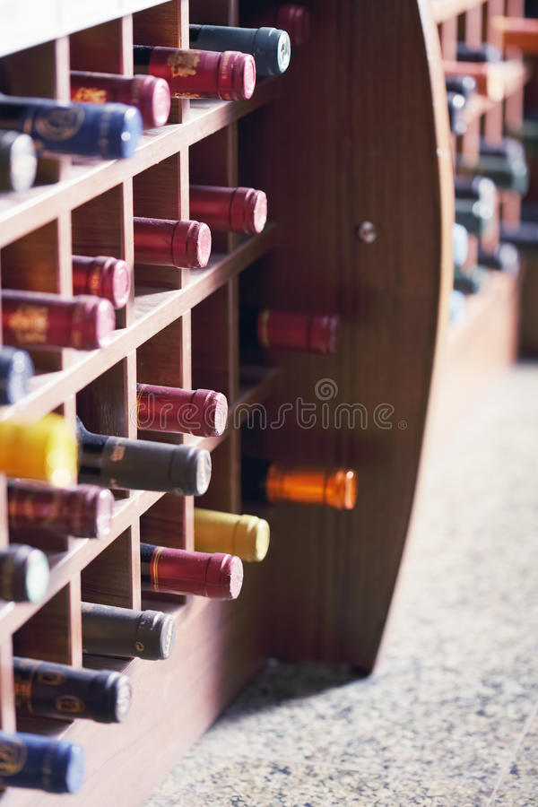 Download Wooden Rack With Wine Bottles Royalty Free Stock Images - Image: 21910779