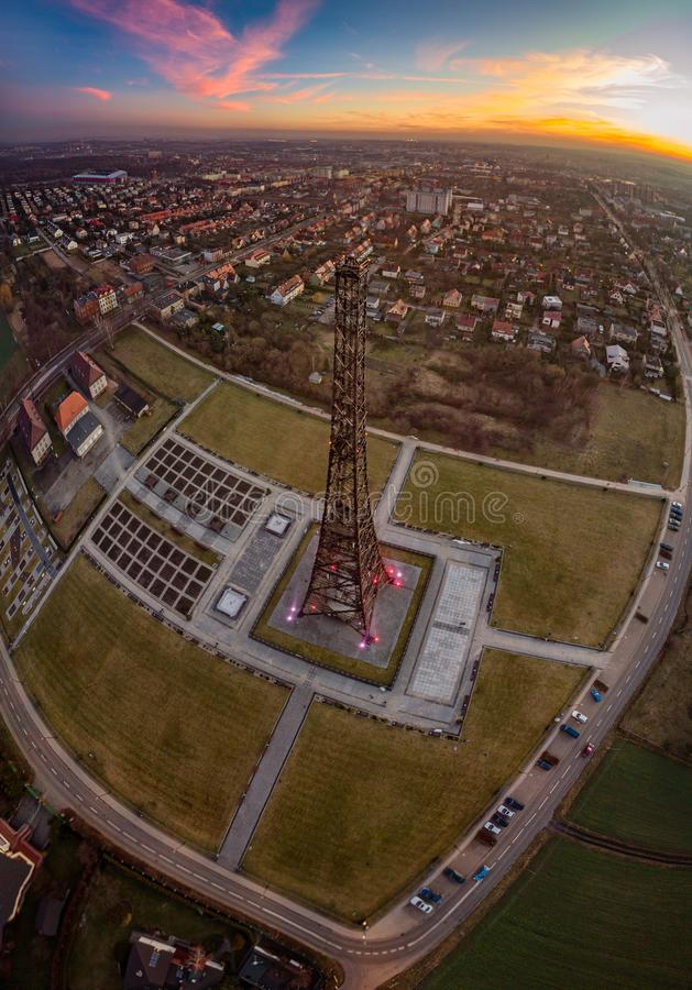 Wooden radio tower in Gliwice, Silesia, Poland. The tower is the tallest wooden structure in Europe stock image