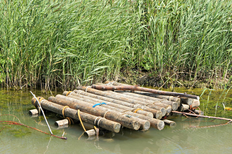 Wooden raft in the water. Grass stock images