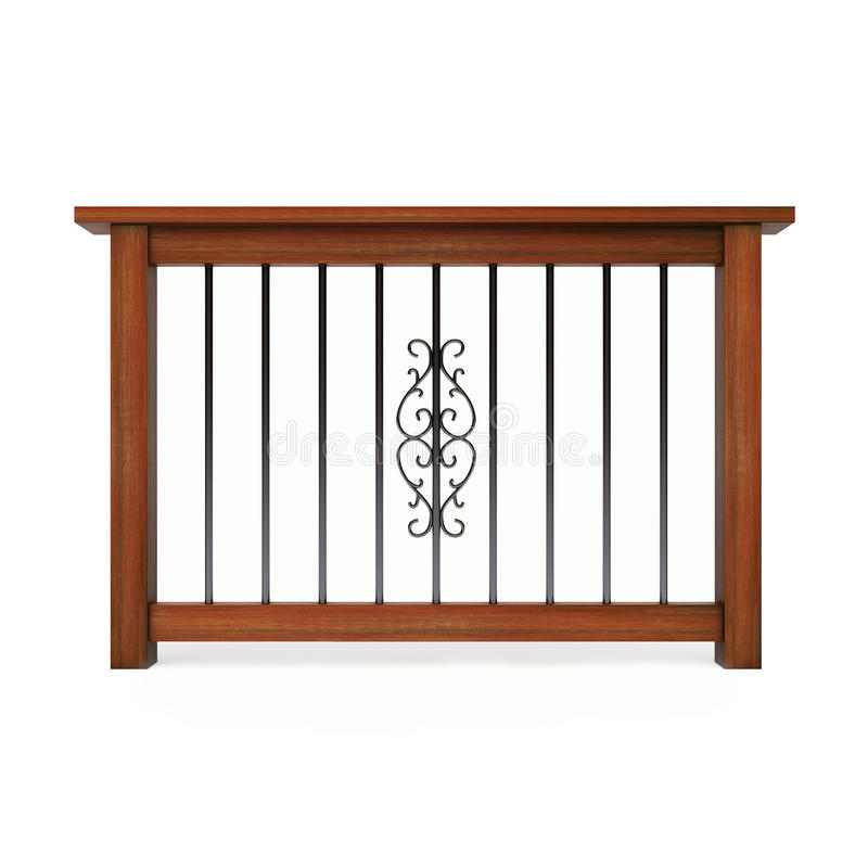 Download Wooden Railing With Metal Pattern Stock Illustration - Image: 17961860