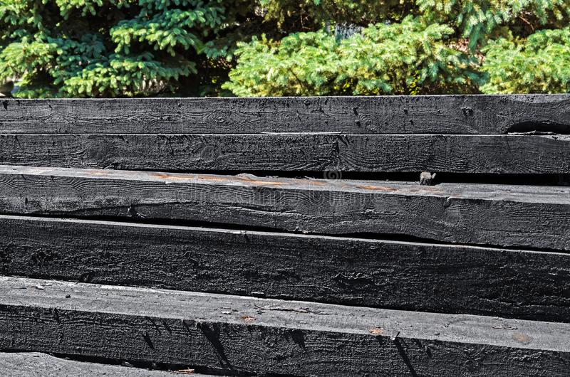 Wooden railroad sleepers royalty free stock images