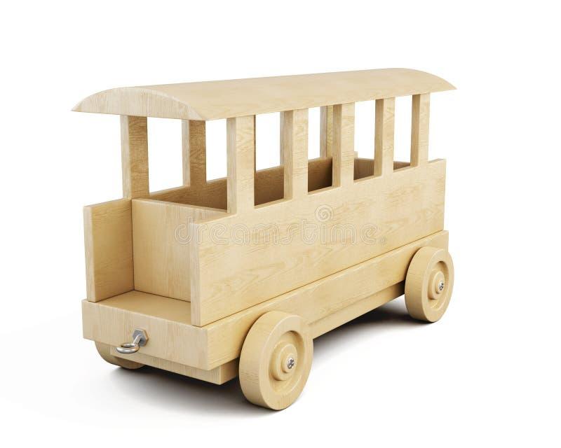 Wooden railway car close-up. 3d. vector illustration