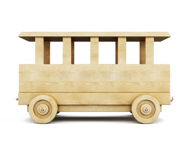 Wooden railway car. 3d. vector illustration