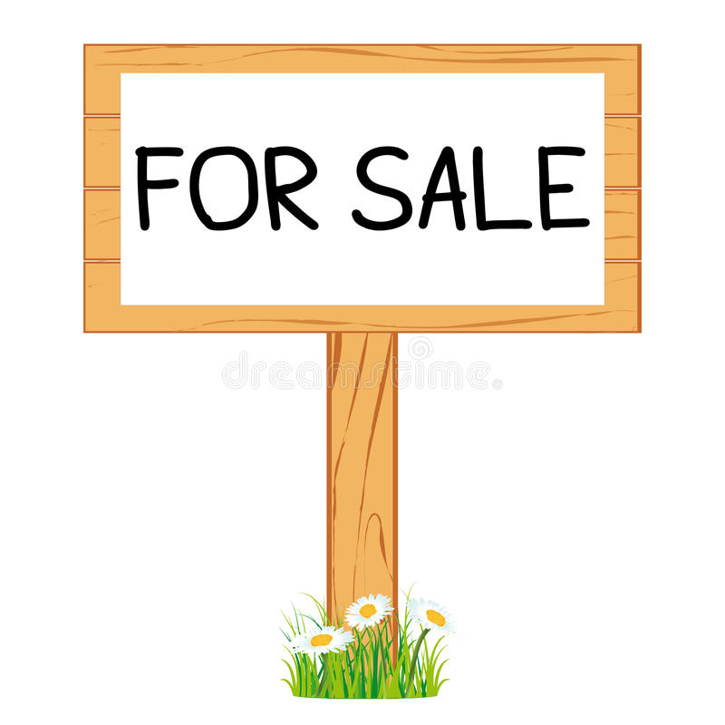 Wooden realistic display signboard. For sale. Wooden realistic display signboard standing on the grass or isolated. For sale. Real estate. Vector collection royalty free illustration