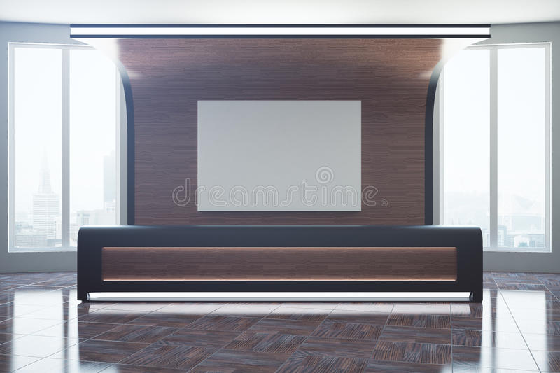 Wooden reception with empty poster vector illustration