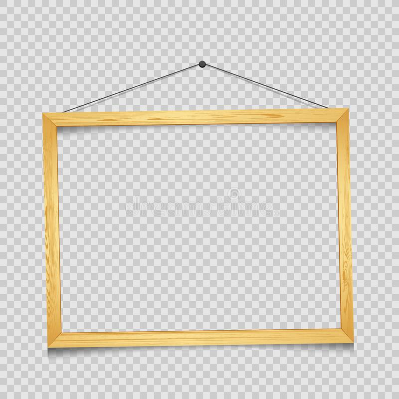 Wooden rectangular frame transparent. Wooden rectangular art frame with shadow on transparent background. Modern border shape photo interior furniture framework vector illustration