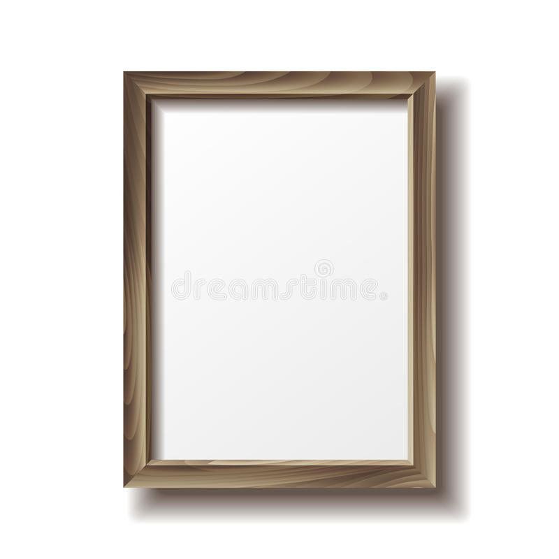 Wooden rectangular photo frame. With shadow. Vector illustration stock illustration