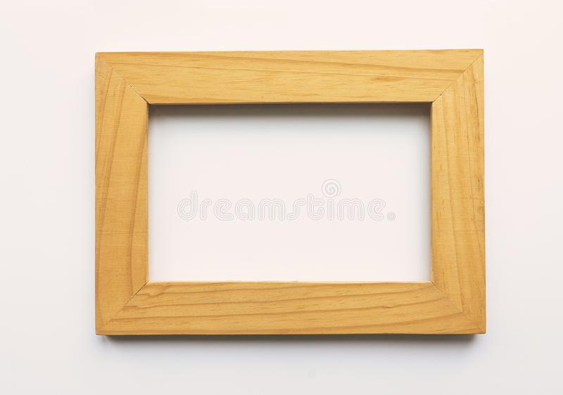 Wooden rectangular photo frame on white background. Close-up. Top view. Nobody, empty vector illustration