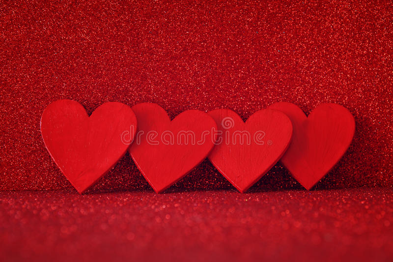 Download Wooden Red Hearts On Red Shiny Background Stock Image - Image of love, glitz: 83702955