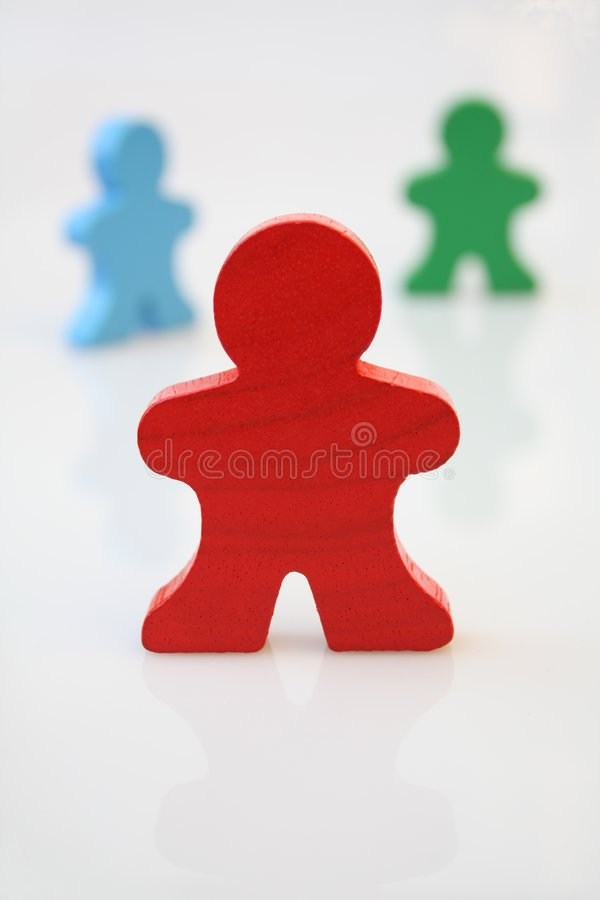 Wooden red man royalty free stock photo