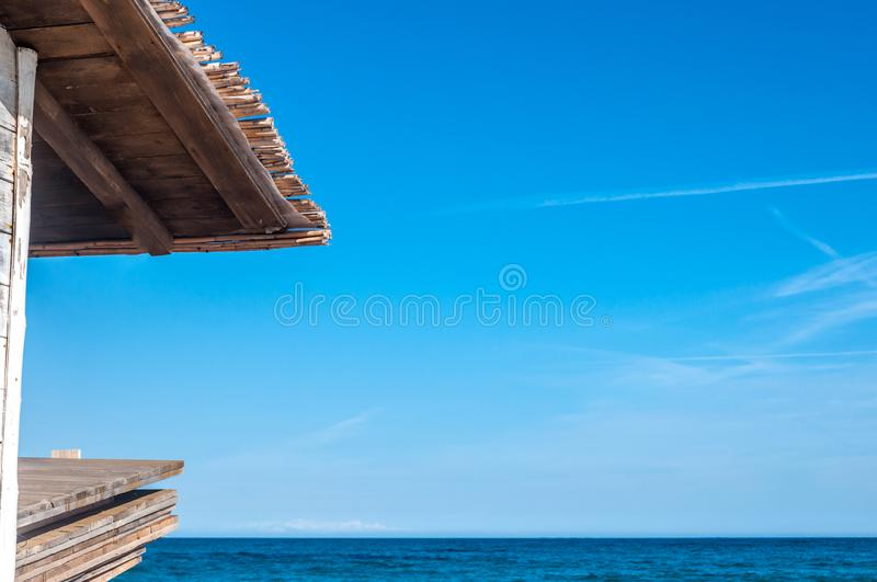 Wooden and reed roof on the beach royalty free stock photos