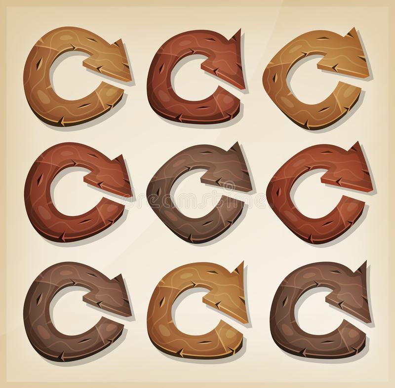 Wooden Refresh Arrows Icons For Ui Game royalty free illustration