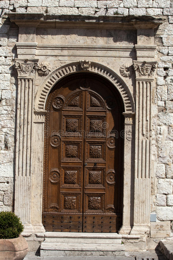 Wooden residential door royalty free stock photography