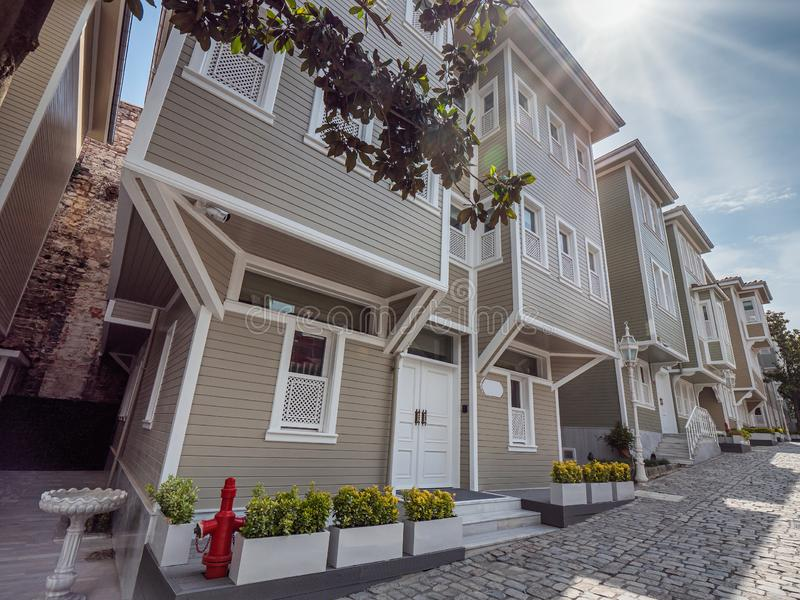 Wooden residential homes in central Istanbul, Turkey royalty free stock photo