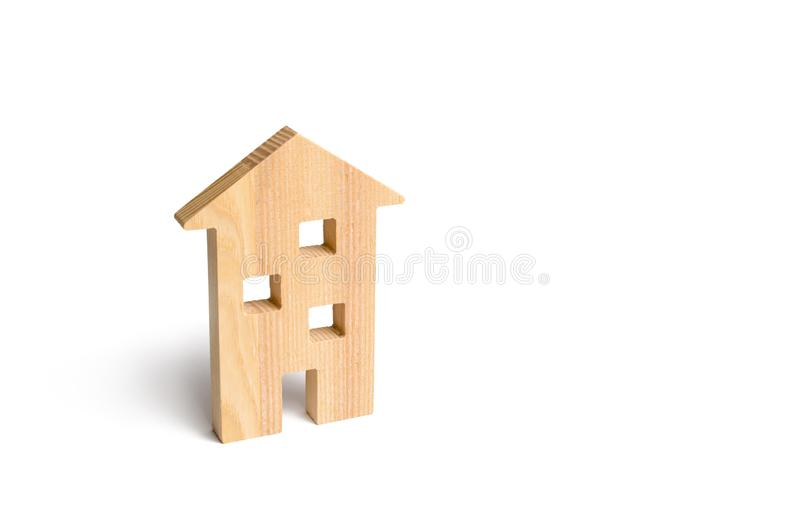 Wooden residential house on a white background. Isolate Real estate concept, buying affordable housing. Selling real estate and renting. Mortgage and credit royalty free stock image