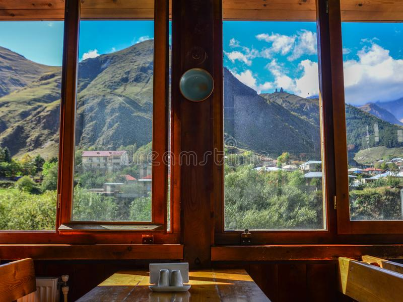 Wooden restaurant interior with nature view stock photography