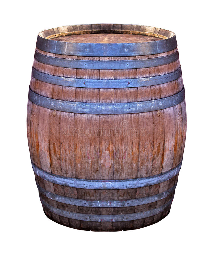 Wooden retro barrel. Old retro wooden barrel isolated with clipping path included stock image