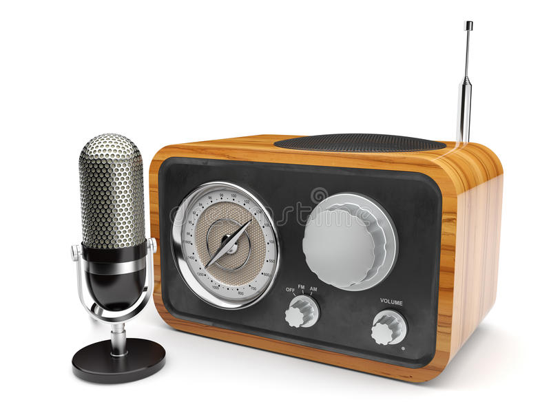 Wooden retro radio with microphone. 3d illustration of wooden retro radio with microphone. on white background vector illustration