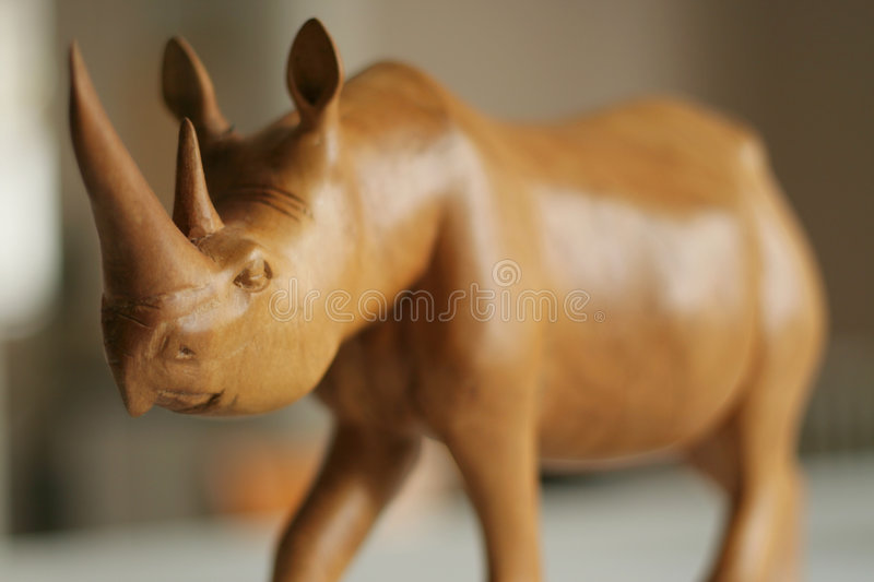 Wooden rhinoceros stock photography