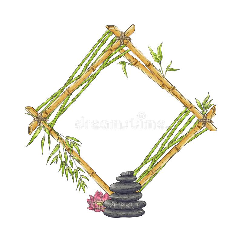 Wooden rhombic bamboo frame with pile of pebbles and flower sketch style. Vector illustration isolated on white background. Natural rhomb-shaped border royalty free illustration