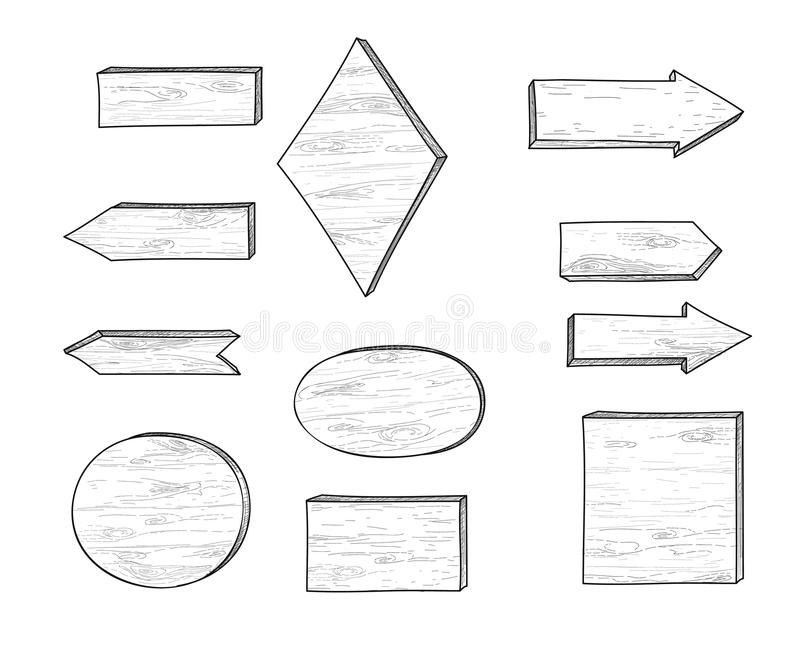 Wooden road sign and arrow. Retro engraving plank set. Pointer a. Set of stylish doodle wooden road sign and arrow. Retro engraving of planks. Hand drawn pointer royalty free illustration