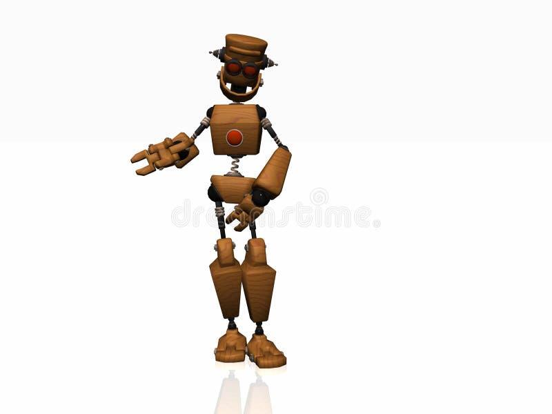 Wooden robot stock image