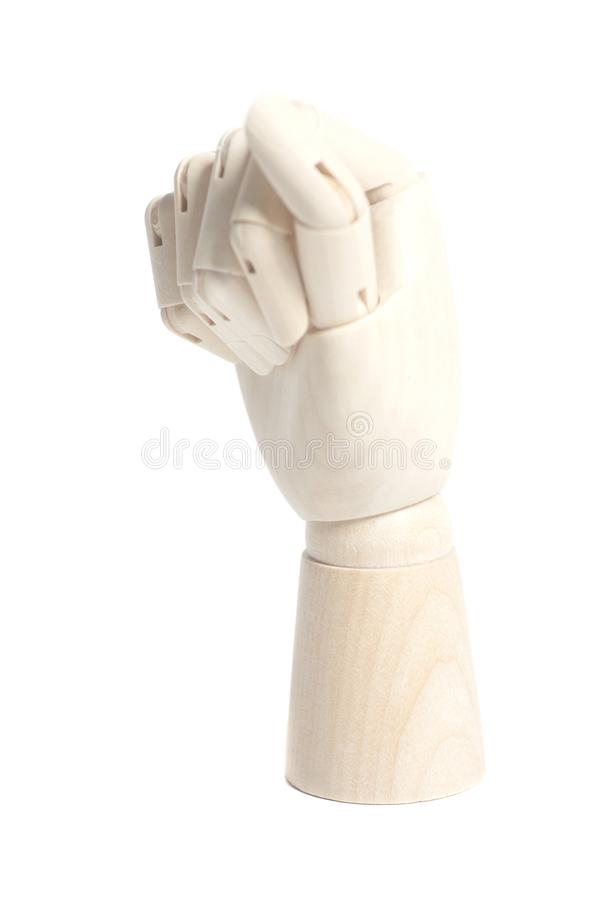 Wooden robot hand isolated on white background. Wooden robot hand isolated on a white background royalty free stock image
