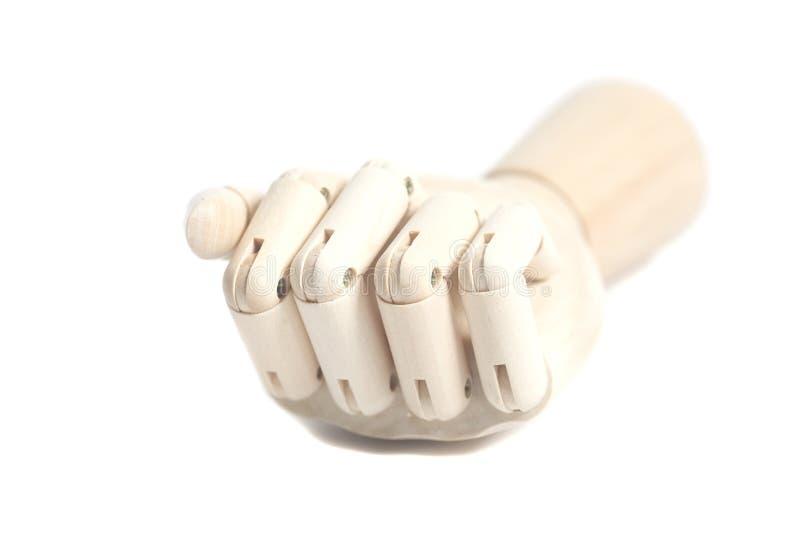 Wooden robot hand on white background. Wooden robot hand on a white background stock image