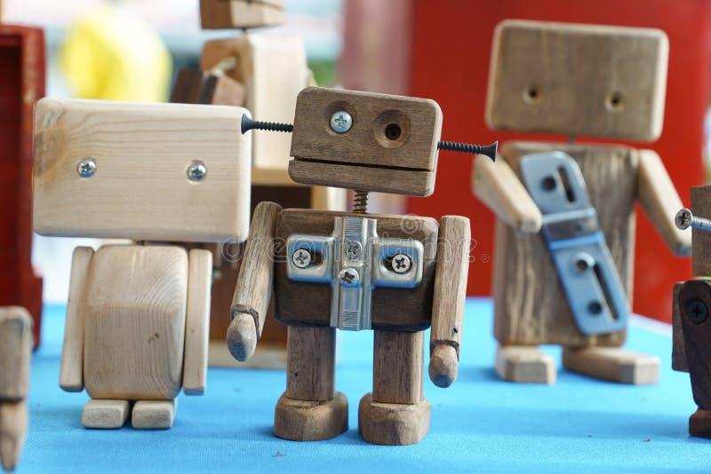 Wooden robot toys royalty free stock photo