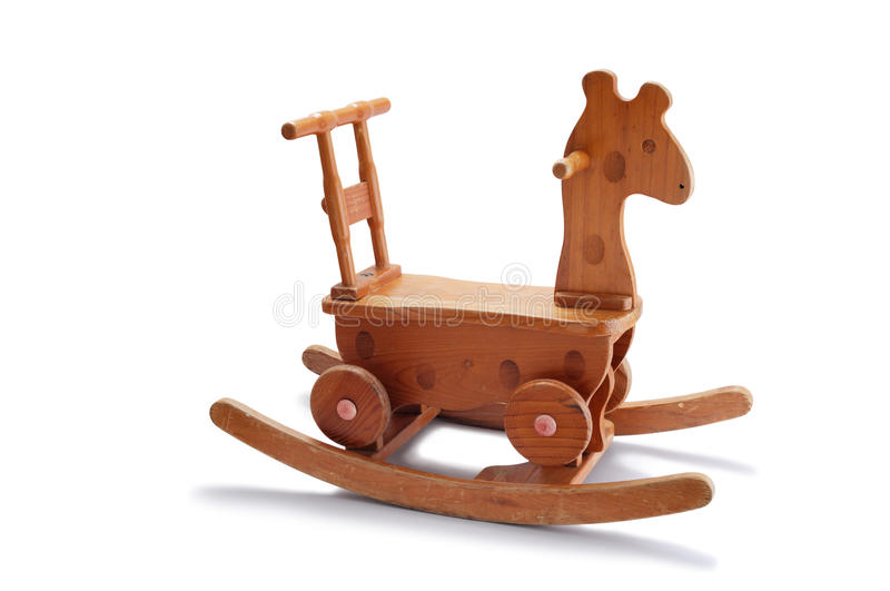 Wooden Rocking Horse. Child wooden rocking horse isolated on white. (Additional format : PNG file with full transparent backgrounds.) stock image