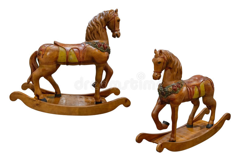 Wooden rocking horse isolated on white background stock images
