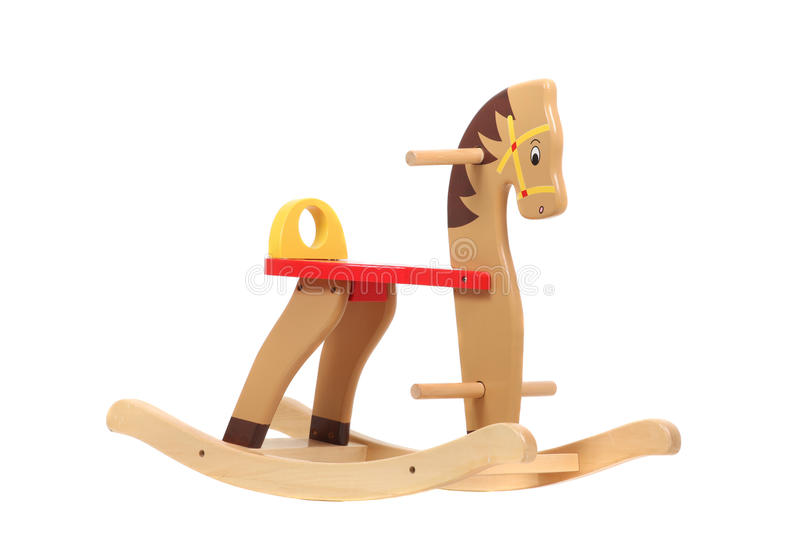 Wooden rocking horse, isolated on white. Children toy royalty free stock image