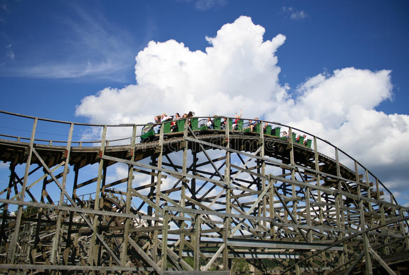 Wooden Roller Coaster stock photography