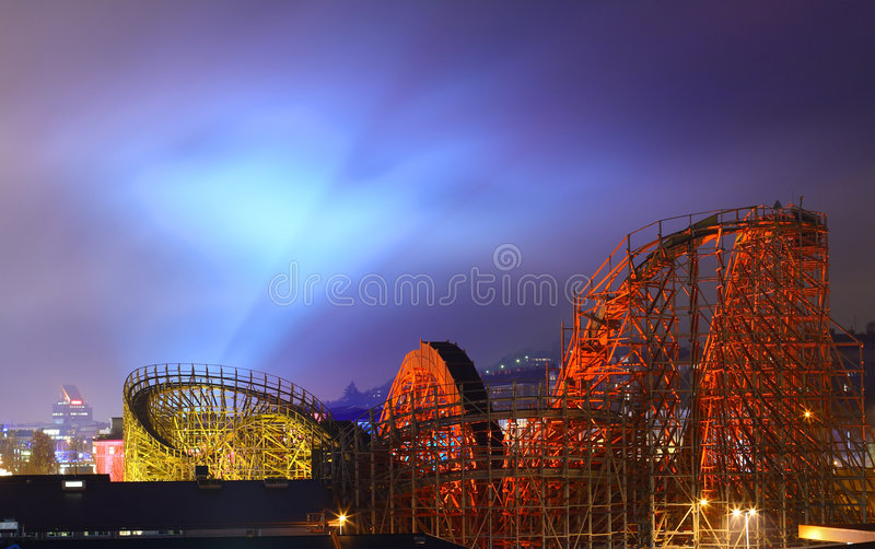Download Wooden Roller Coaster stock photo. Image of extreme, park - 3827784