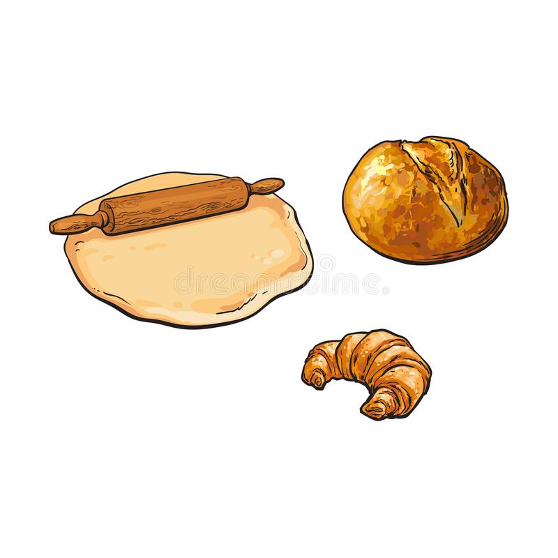 Wooden rolling pin, dough, bread and croissant vector illustration