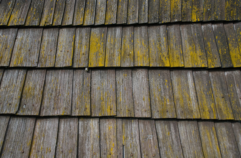 Wooden roof. Texture of wooden roof slats covered with yellow moss royalty free stock image