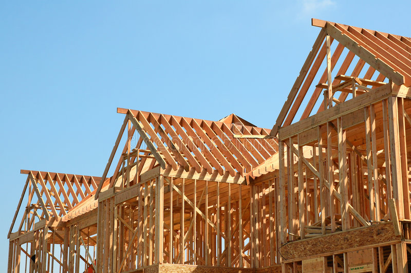 Wooden Roof Frame. Of a new house under construction royalty free stock image