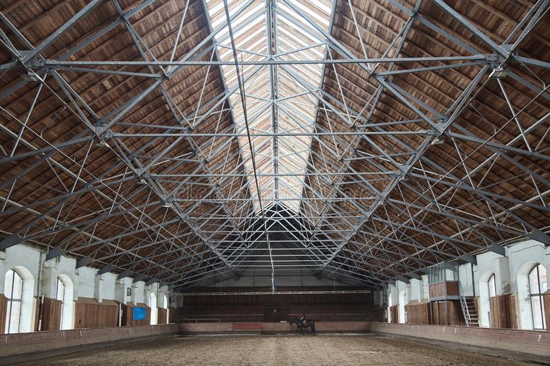 Wooden roof in the hangar for horses. Wooden roof in the hangar for horses royalty free stock photo