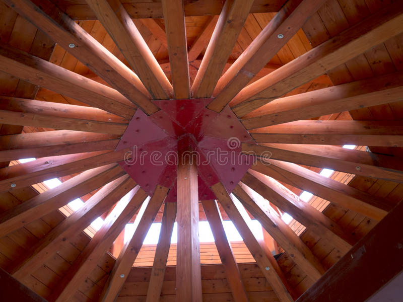 Wooden roof with radial beams stock photography